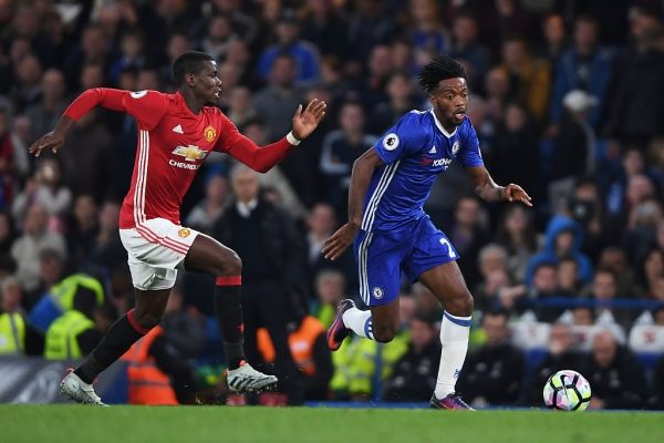 LONDON, ENGLAND - OCTOBER 23:  Nathaniel Chalobah of Chelsea is closed down by Paul Pogba of Manchester United during the Premier League match between Chelsea and Manchester United at Stamford Bridge on October 23, 2016 in London, England.  (Photo by Mike Hewitt/Getty Images)