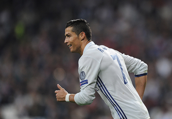 MADRID, SPAIN - OCTOBER 18:  Cristiano Ronaldo of Real Madrid CF reacts during the UEFA Champions League, Group F match between Real Madrid CF and Legia Warszawa at Santiago Bernabeu stadium on October 18, 2016 in Madrid, Spain.  (Photo by Denis Doyle/Getty Images)