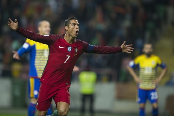 AVEIRO, PORTUGAL - OCTOBER 07:  Cristiano Ronaldo of Portugal celebrates after scoring the second a goal during the 2018 FIFA World Cup Qualifying Group B match between Portugal and Andorra at the Aveiro Municipal stadium on October 07, 2016 in Aveiro, Portugal. (Photo by Octavio Passos/Getty Images)
