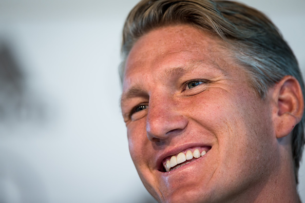 DUESSELDORF, GERMANY - AUGUST 30: Bastian Schweinsteiger of Germany smiles during a press conference on August 30, 2016 in Duesseldorf, Germany, prior the friendly match against Finland. (Photo by Maja Hitij/Bongarts/Getty Images)