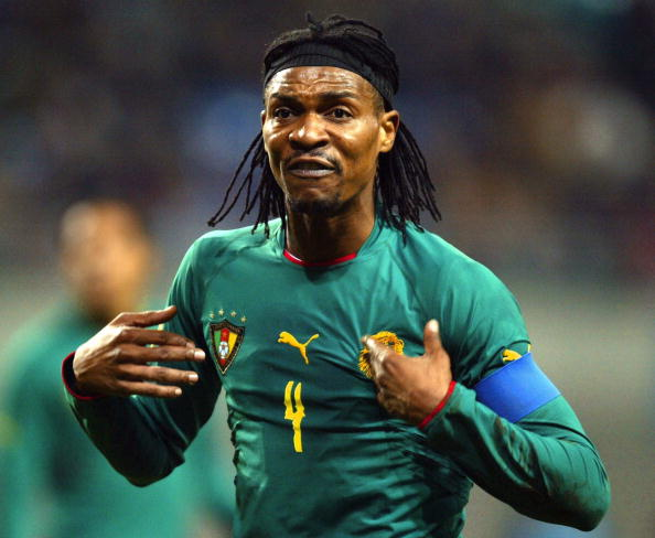 LEIPZIG, GERMANY - NOVEMBER 17:    Fussball: Laenderspiel 2004, Leipzig; Deutschland - Kamerun ( GER - CMR ) 3:0; Rigobert SONG / CMR 17.11.04.  (Photo by Christian Fischer/Bongarts/Getty Images)