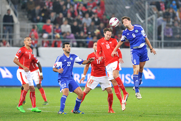 of Switzerland in action during the UEFA EURO 2016 qualifier between Switzerland and San Marino at AFG Arena on October 9, 2015 in St Gallen, Switzerland.