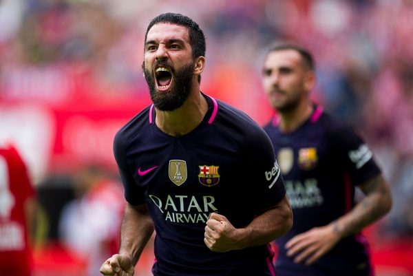 GIJON, SPAIN - SEPTEMBER 24:  Arda Turan of FC Barcelona celebrates after scoring his team's fourth goal during the La Liga match between Real Sporting de Gijon and FC Barcelona at Estadio El Molinon on September 24, 2016 in Gijon, Spain.  (Photo by Juan Manuel Serrano Arce/Getty Images)