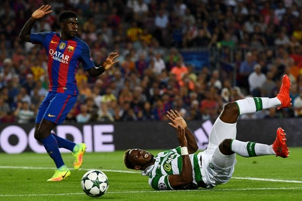 BARCELONA, SPAIN - SEPTEMBER 13:  Moussa Dembele of Celtic is fouled by Marc-Andre ter Stegen of Barcelona (not shown) to win a penalty during the UEFA Champions League Group C match between FC Barcelona and Celtic FC at Camp Nou on September 13, 2016 in Barcelona, Spain.  (Photo by David Ramos/Getty Images)