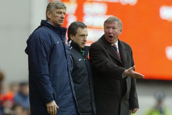 LONDON - MARCH 28: Manager Arsene Wenger of Arsenal argues with manager Sir Alex Ferguson of Manchester United during the FA Barclaycard Premiership match between Arsenal and Manchester United at Highbury on March 28, 2004 in London.  (Photo by Clive Mason/Getty Images) *** Local Caption *** Arsene Wenger;Sir Alex Ferguson