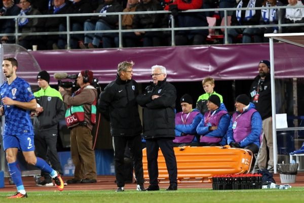 9.10.2016, Ratina Stadion, Tampere, Finland. FIFA World Cup 2018 Qualifying match, Finland v Croatia. Finland coach Hans Backe with assistant Markku Kanerva.