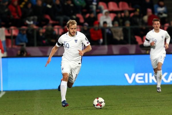 9.10.2016, Ratina Stadion, Tampere, Finland. FIFA World Cup 2018 Qualifying match, Finland v Croatia. Teemu Pukki - Finland