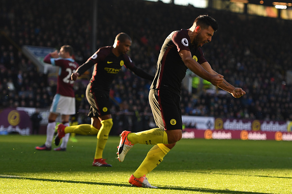 BURNLEY, ENGLAND - NOVEMBER 26:  Sergio Aguero of Manchester City celebrates scoring his team's first goal during the Premier League match between Burnley and Manchester City at Turf Moor on November 26, 2016 in Burnley, England.  (Photo by Gareth Copley/Getty Images)