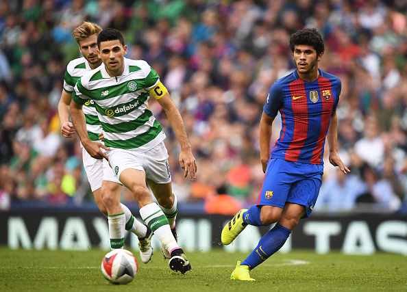 DUBLIN, IRELAND - JULY 30: Carles Alena (R) of Barcelona and Tomas Rogic (L) of Celtic during the International Champions Cup series match between Barcelona and Celtic at Aviva Stadium on July 30, 2016 in Dublin, Ireland. (Photo by Charles McQuillan/Getty Images)