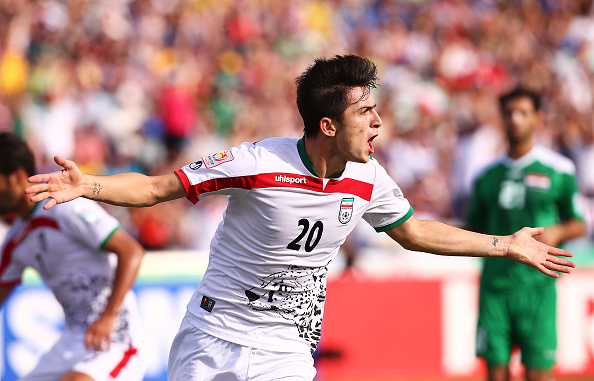 CANBERRA, AUSTRALIA - JANUARY 23: Sardar Azmoun of Iran celebrates scoring a goal during the 2015 Asian Cup match between Iran and Iraq at Canberra Stadium on January 23, 2015 in Canberra, Australia.  (Photo by Mark Nolan/Getty Images)