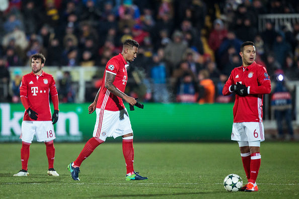 ROSTOV-ON-DON, RUSSIA - NOVEMBER 23: Jerome Boateng #17 of FC Bayern Muenchen is being substituted during the UEFA Champions League match between FC Rostov and Bayern Muenchen at Olimp-2 on November 23, 2016 in Rostov-on-Don, Russia. (Photo by Joosep Martinson/Bongarts/Getty Images)