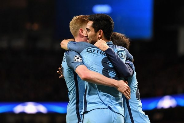 MANCHESTER, ENGLAND - NOVEMBER 01: Ilkay Gundogan of Manchester City (C) celebrates scoring his sides first goal with his team mates during the UEFA Champions League Group C match between Manchester City FC and FC Barcelona at Etihad Stadium on November 1, 2016 in Manchester, England.  (Photo by Laurence Griffiths/Getty Images)
