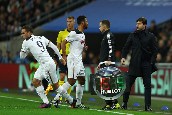 during the UEFA Champions League Group E match between Tottenham Hotspur FC and Bayer 04 Leverkusen at Wembley Stadium on November 2, 2016 in London, England.