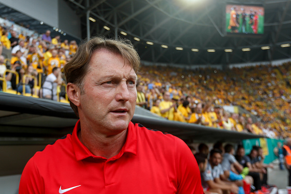 DRESDEN, GERMANY - AUGUST 20:  Heach coach of Leipzig Ralph Hasenhuttl is seen before the DFB Cup match between Dynamo Dresden and RB Leipzig at DDV-Stadion on August 20, 2016 in Dresden, Germany.  (Photo by Matej Divizna/Bongarts/Getty Images)