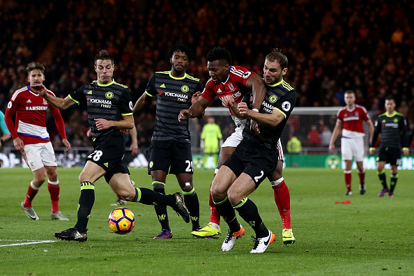 MIDDLESBROUGH, ENGLAND - NOVEMBER 20:  Adama Traore of Middlesbrough is blocked by Branislav Ivanovic of Chelsea during the Premier League match between Middlesbrough and Chelsea at Riverside Stadium on November 20, 2016 in Middlesbrough, England.  (Photo by Jan Kruger/Getty Images)