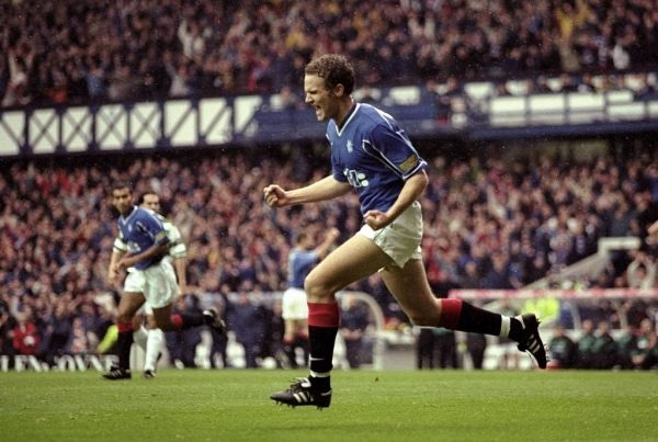 7 Nov 1999:  Jonaton Johansson of Rangers celebrates his goal against Celtic in the Scottish Premier League match at Ibrox in Glasgow, Scotland. Rangers won 4-2.  Mandatory Credit: Michael Steele /Allsport