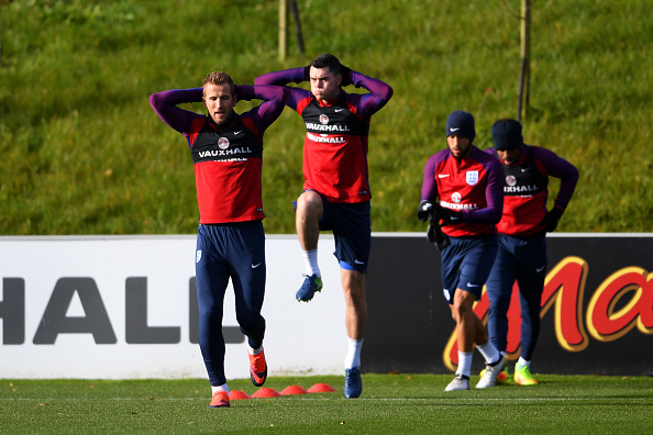 xxxx during a training session ahead of the FIFA 2018 World Cup qualifying group F match against Scotland at St George's Park on November 10, 2016 in Burton-upon-Trent, England.