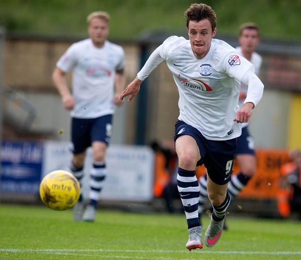 LIVINGSTON, SCOTLAND - JULY 24: Will Keane in action for Preston North End  at the Pre Season Friendly between Motherwell and Preston North End at the City Stadium on July 24th, 2015 in Livingston, Scotland.  (Photo by Jeff Holmes/Getty Images)