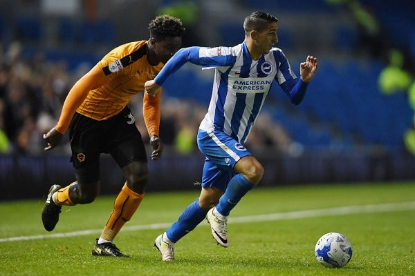 BRIGHTON, ENGLAND - OCTOBER 18:  Anthony Knockaert of Brighton gets past Kortney Hause of Wolves during the Sky Bet Championship match between Brighton & Hove Albion and Wolverhampton Wanderers at Amex Stadium on October 18, 2016 in Brighton, England.  (Photo by Mike Hewitt/Getty Images)