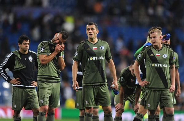 MADRID, SPAIN - OCTOBER 18:  Legia Warszawa players react after their 1-5 defeat in the UEFA Champions League Group F match between Real Madrid CF and Legia Warszawa at Bernabeu on October 18, 2016 in Madrid, Spain.  (Photo by Denis Doyle/Getty Images)