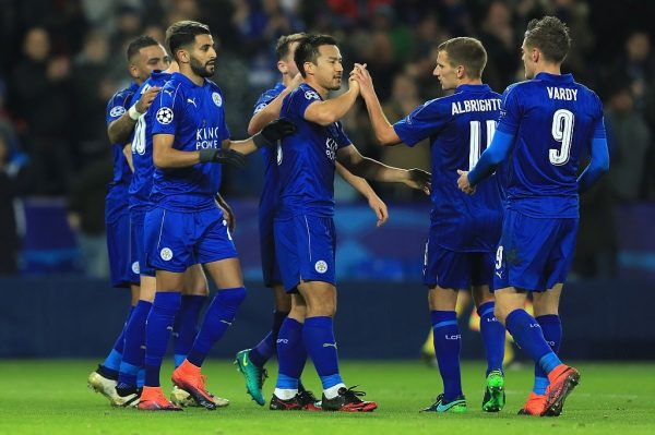 LEICESTER, ENGLAND - NOVEMBER 22: Riyad Mahrez of Leicester City celebrates scoring his sides second goal with team mates during the UEFA Champions League match between Leicester City FC and Club Brugge KV at The King Power Stadium on November 22, 2016 in Leicester, England.  (Photo by Richard Heathcote/Getty Images)