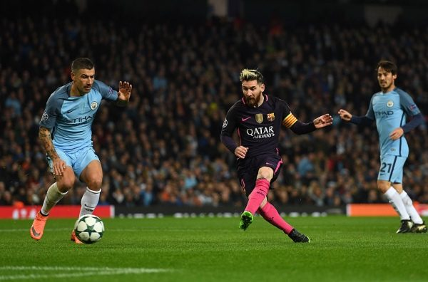MANCHESTER, ENGLAND - NOVEMBER 01: Lionel Messi of Barcelona (C) scores his sides first goal during the UEFA Champions League Group C match between Manchester City FC and FC Barcelona at Etihad Stadium on November 1, 2016 in Manchester, England.  (Photo by Shaun Botterill/Getty Images)