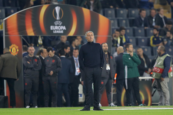 ISTANBUL, TURKEY - NOVEMBER 03:  Jose Mourinho, manager of Manchester United watches his players during the warm-up  before the UEFA Europa League Group A match between Fenerbahce SK and Manchester United FC at Sukru Saracoglu Stadium on November 3, 2016 in Istanbul, Turkey.  (Photo by Chris McGrath/Getty Images)