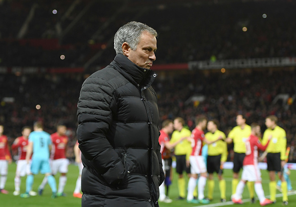 MANCHESTER, ENGLAND - NOVEMBER 24:  Jose Mourinho manager of Manchester United looks thoughtful prior to the UEFA Europa League Group A match between Manchester United FC and Feyenoord at Old Trafford on November 24, 2016 in Manchester, England.  (Photo by Gareth Copley/Getty Images)