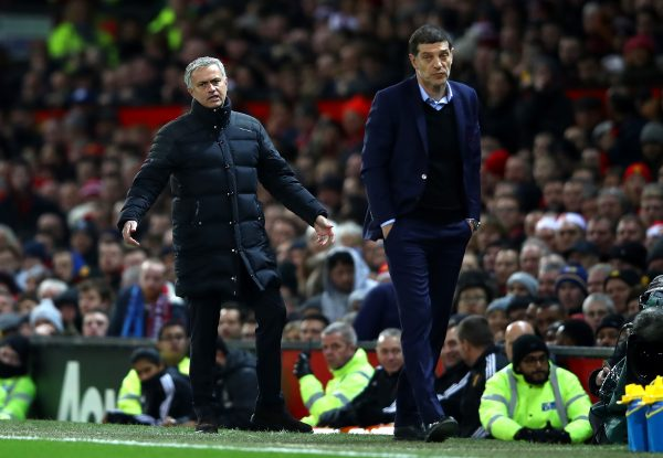 MANCHESTER, ENGLAND - NOVEMBER 27: Jose Mourinho, Manager of Manchester United (L) reacts during the Premier League match between Manchester United and West Ham United at Old Trafford on November 27, 2016 in Manchester, England.  (Photo by Clive Brunskill/Getty Images)