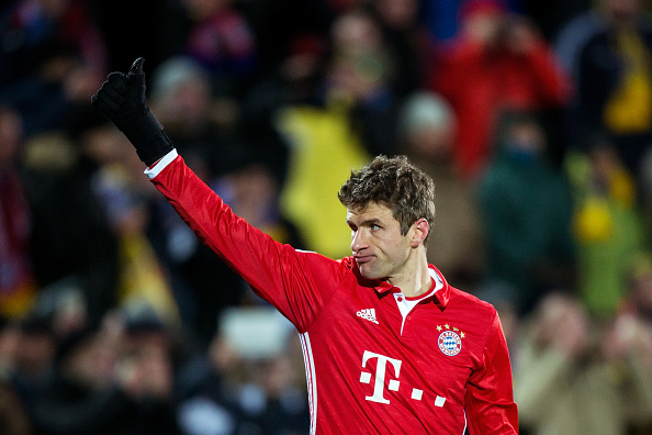 ROSTOV-ON-DON, RUSSIA - NOVEMBER 23: Thomas Muller #25 of FC Bayern Muenchen thanks the fans after losing the UEFA Champions League match between FC Rostov and Bayern Muenchen at Olimp-2 on November 23, 2016 in Rostov-on-Don, Russia. (Photo by Joosep Martinson/Bongarts/Getty Images)