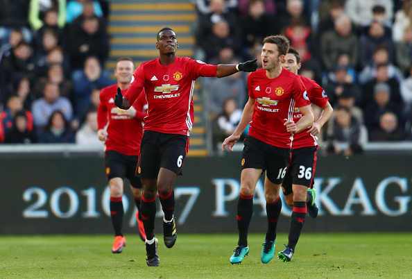 during the Premier League match between Swansea City and Manchester United at Liberty Stadium on November 6, 2016 in Swansea, Wales.