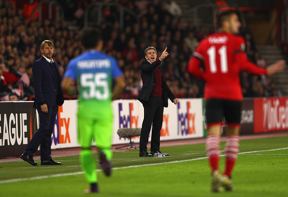SOUTHAMPTON, ENGLAND - NOVEMBER 03:  Stefano Vecchi, Manager of Internazionale (L) and Claude Puel, Manager of Southampton (R) look on during the UEFA Europa League Group K match between Southampton FC and FC Internazionale Milano at St Mary's Stadium on November 3, 2016 in Southampton, England.  (Photo by Ian Walton/Getty Images)