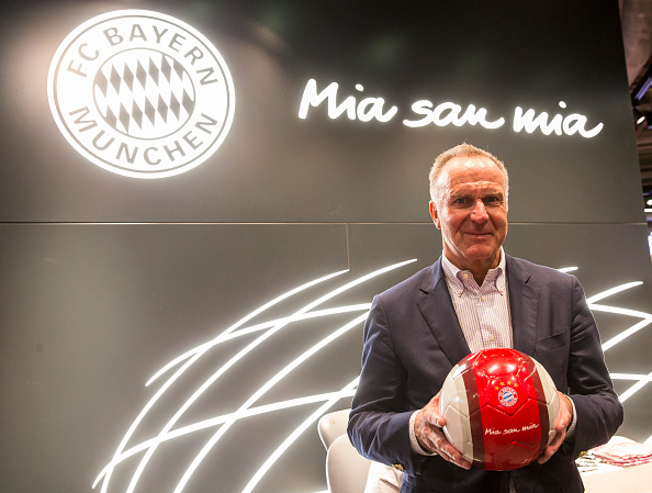 MUNICH, GERMANY - NOVEMBER 06: CEO of FC Bayern Munich Karl-Heinz Rummenigge poses at the reopening of the FC Bayern Fan Shop at Airport Munich on November 6, 2016 in Munich, Germany. (Photo by Marc Mueller/Bongarts/Getty Images)