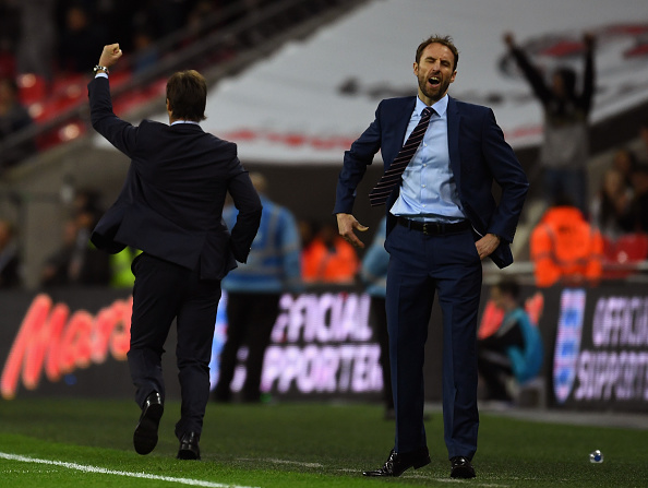 LONDON, ENGLAND - NOVEMBER 15:  Gareth Southgate interim manager of England reacts as Julen Lopetegui head coach of Spain celebrates as Isco of Spain scores their second goal during the international friendly match between England and Spain at Wembley Stadium on November 15, 2016 in London, England.  (Photo by Mike Hewitt/Getty Images)