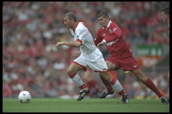 24 Aug 1996:  Paul Stewart of Sunderland with the ball is chased by Dominic Matteo of Liverpool during the Premier League match between Liverpool and Sunderland at Anfield in Liverpool. Mandatory Credit: Clive Brunskill/Allsport