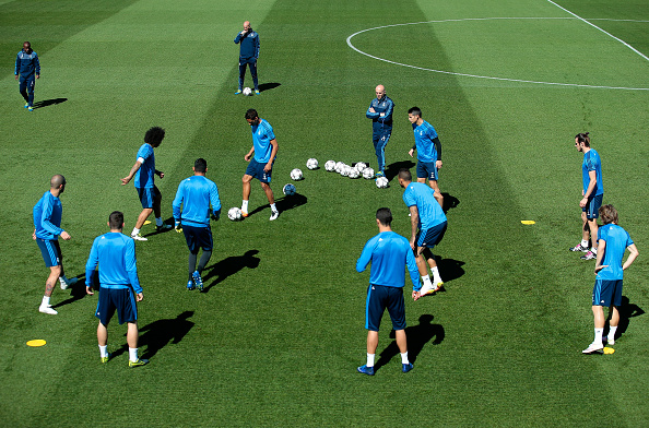 during a training session ahead of the UEFA Champions League Semi Final Second Leg between Real Madrid and Manchester City at Valdebebas training ground on May 3, 2016 in Madrid, Spain.