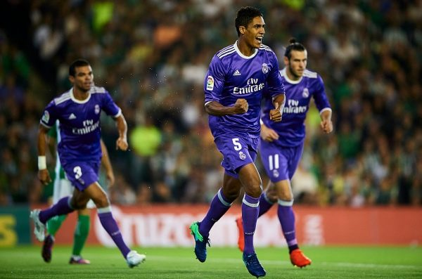 SEVILLE, SPAIN - OCTOBER 15:  Raphael Varane of Real Madrid CF celebrates after scoring during the match between Real Betis Balompie and Real Madrid CF as part of La Liga at Benito Villamrin stadium October 15, 2016 in Seville, Spain.  (Photo by Aitor Alcalde/Getty Images)