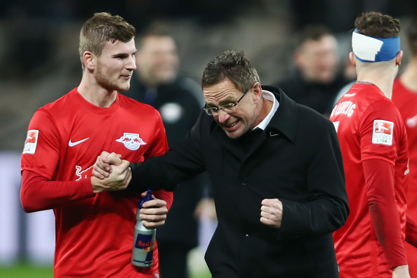 LEVERKUSEN, GERMANY - NOVEMBER 18: Sport director Ralf Rangnick of Leipzig celebrates with Timo Werner after the Bundesliga match between Bayer 04 Leverkusen and RB Leipzig at BayArena on November 18, 2016 in Leverkusen, Germany.  (Photo by Alex Grimm/Bongarts/Getty Images)