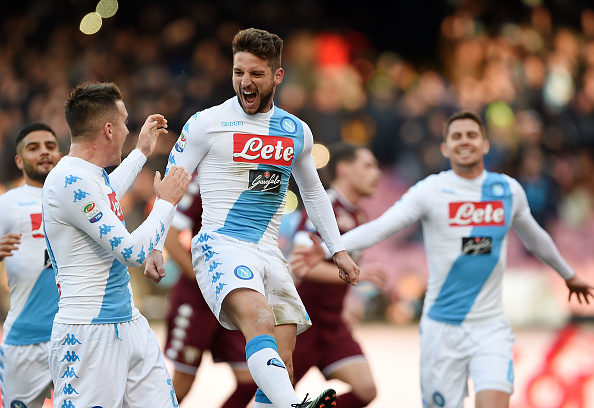 NAPLES, ITALY - DECEMBER 18:  Piotr Zielinski and Dries Mertens of SSC Napoli celebrate the 2-0 goal scored by Dries Mertens during the Serie A match between SSC Napoli and FC Torino at Stadio San Paolo on December 18, 2016 in Naples, Italy.  (Photo by Francesco Pecoraro/Getty Images)