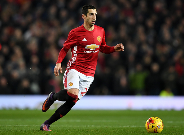 MANCHESTER, ENGLAND - NOVEMBER 30:  Henrikh Mkhitaryan of Manchester United in action during the EFL Cup quarter final match between Manchester United and West Ham United at Old Trafford on November 30, 2016 in Manchester, England.  (Photo by Shaun Botterill/Getty Images)