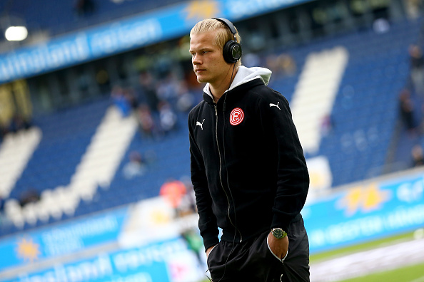 DUISBURG, GERMANY - APRIL 29: Joel Pohjanpalo of Duesseldorf looks on prior to the 2. Bundesliga match between MSV Duisburg and Fortuna Duesseldorf at Schauinsland-Reisen-Arena on April 29, 2016 in Duisburg, Germany.  (Photo by Christof Koepsel/Bongarts/Getty Images)