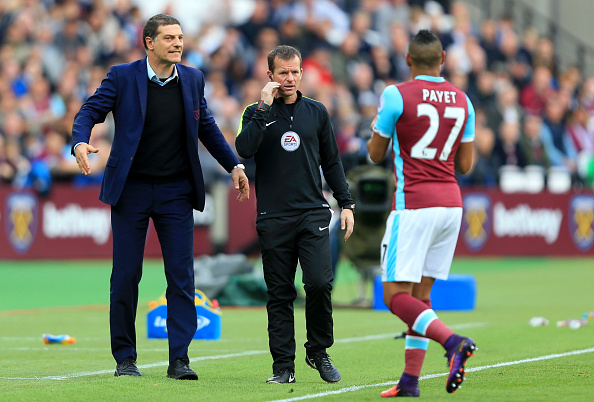 during the Premier League match between West Ham United and Sunderland at Olympic Stadium on October 22, 2016 in London, England.