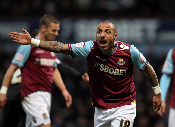LONDON, ENGLAND - JANUARY 21:  Julien Faubert of West Ham reacts during the npower Championship match between  West Ham United and Nottingham Forest at Boleyn Ground on January 21, 2012 in London, England.  (Photo by Ian Walton/Getty Images)