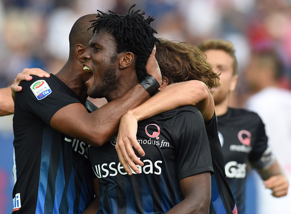 BERGAMO, ITALY - SEPTEMBER 11:  Franck Kessie of Atalanta BC celebrates his first goal to make it 2-1 during the Serie a match between Atalanta BC and FC Torino at Stadio Atleti Azzurri d'Italia on September 11, 2016 in Bergamo, Italy.  (Photo by Pier Marco Tacca/Getty Images)