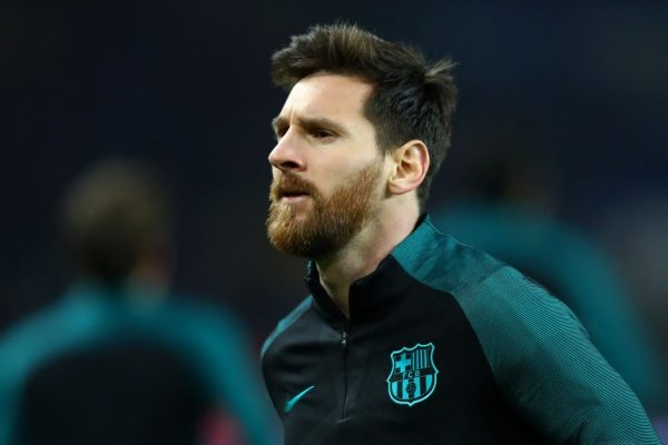 PARIS, FRANCE - FEBRUARY 14:  Lionel Messi of Barcelona looks on during the warm-up before the UEFA Champions League Round of 16 first leg match between Paris Saint-Germain and FC Barcelona at Parc des Princes on February 14, 2017 in Paris, France.  (Photo by Clive Rose/Getty Images)